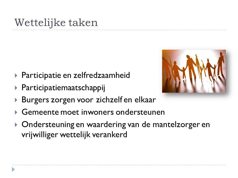 Wettelijke taken  Participatie en zelfredzaamheid  Participatiemaatschappij  Burgers zorgen voor zichzelf en elkaar  Gemeente moet inwoners ondersteunen  Ondersteuning en waardering van de mantelzorger en vrijwilliger wettelijk verankerd