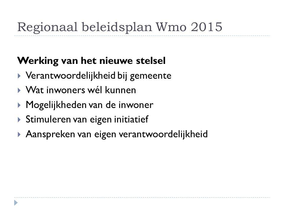 Regionaal beleidsplan Wmo 2015 Werking van het nieuwe stelsel  Verantwoordelijkheid bij gemeente  Wat inwoners wél kunnen  Mogelijkheden van de inwoner  Stimuleren van eigen initiatief  Aanspreken van eigen verantwoordelijkheid