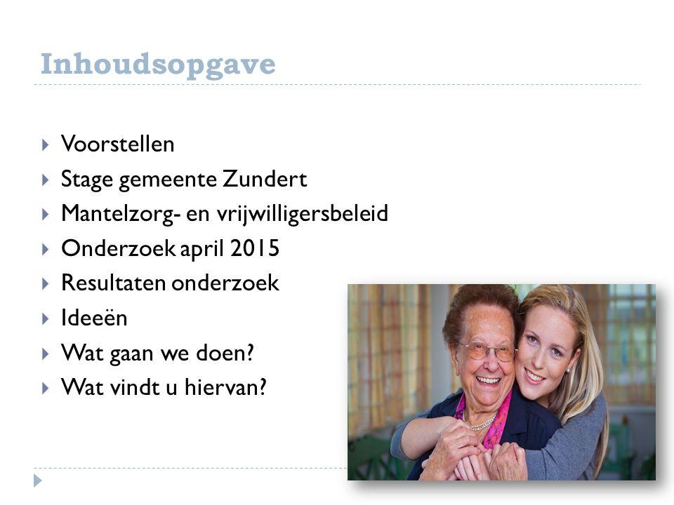 Inhoudsopgave  Voorstellen  Stage gemeente Zundert  Mantelzorg- en vrijwilligersbeleid  Onderzoek april 2015  Resultaten onderzoek  Ideeën  Wat gaan we doen.
