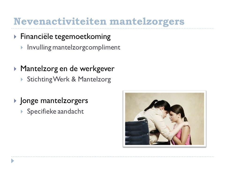 Nevenactiviteiten mantelzorgers  Financiële tegemoetkoming  Invulling mantelzorgcompliment  Mantelzorg en de werkgever  Stichting Werk & Mantelzor