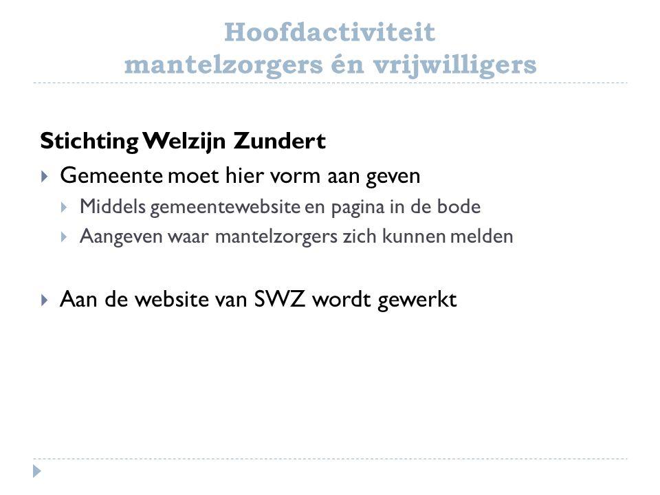 Hoofdactiviteit mantelzorgers én vrijwilligers Stichting Welzijn Zundert  Gemeente moet hier vorm aan geven  Middels gemeentewebsite en pagina in de