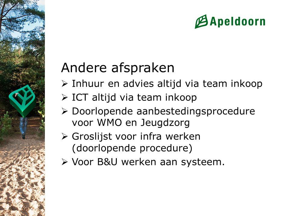 Andere afspraken  Inhuur en advies altijd via team inkoop  ICT altijd via team inkoop  Doorlopende aanbestedingsprocedure voor WMO en Jeugdzorg  G
