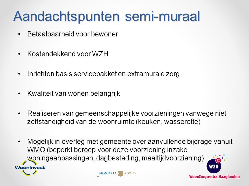 Aandachtspunten semi-muraal Betaalbaarheid voor bewoner Kostendekkend voor WZH Inrichten basis servicepakket en extramurale zorg Kwaliteit van wonen b