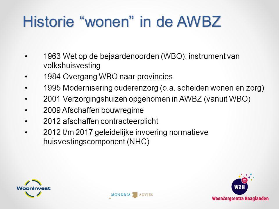 """Historie """"wonen"""" in de AWBZ 1963 Wet op de bejaardenoorden (WBO): instrument van volkshuisvesting 1984 Overgang WBO naar provincies 1995 Modernisering"""
