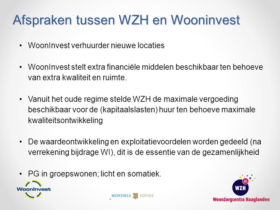 Afspraken tussen WZH en Wooninvest 7 WoonInvest verhuurder nieuwe locaties WoonInvest stelt extra financiële middelen beschikbaar ten behoeve van extr