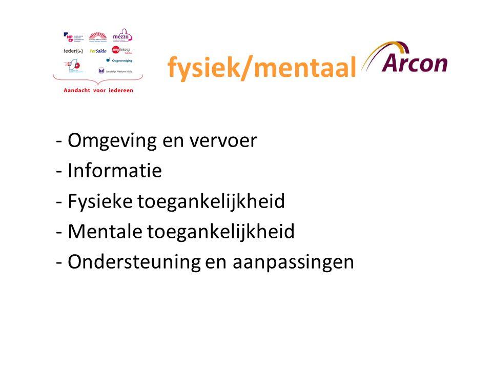 fysiek/mentaalU - Omgeving en vervoer - Informatie - Fysieke toegankelijkheid - Mentale toegankelijkheid - Ondersteuning en aanpassingen