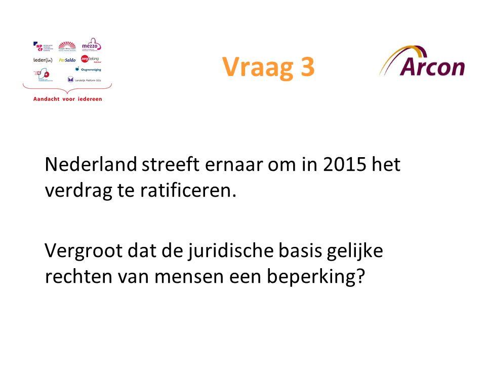 Vraag 3 Nederland streeft ernaar om in 2015 het verdrag te ratificeren.