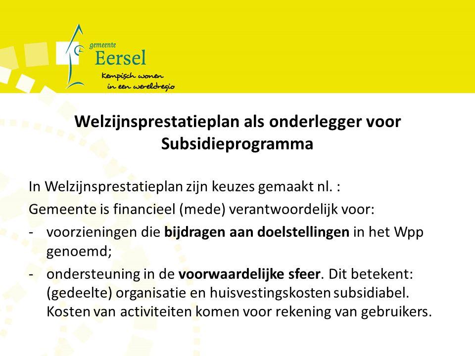 Welzijnsprestatieplan als onderlegger voor Subsidieprogramma In Welzijnsprestatieplan zijn keuzes gemaakt nl.