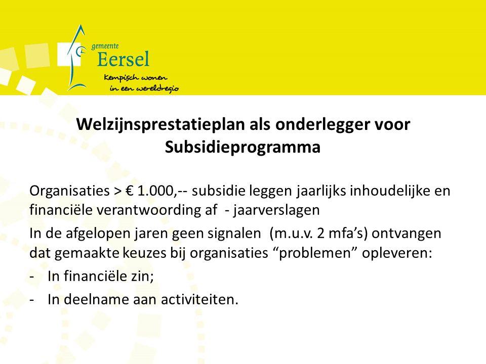 Welzijnsprestatieplan als onderlegger voor Subsidieprogramma Organisaties > € 1.000,-- subsidie leggen jaarlijks inhoudelijke en financiële verantwoording af - jaarverslagen In de afgelopen jaren geen signalen (m.u.v.