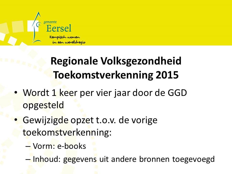 Regionale Volksgezondheid Toekomstverkenning 2015 Wordt 1 keer per vier jaar door de GGD opgesteld Gewijzigde opzet t.o.v.