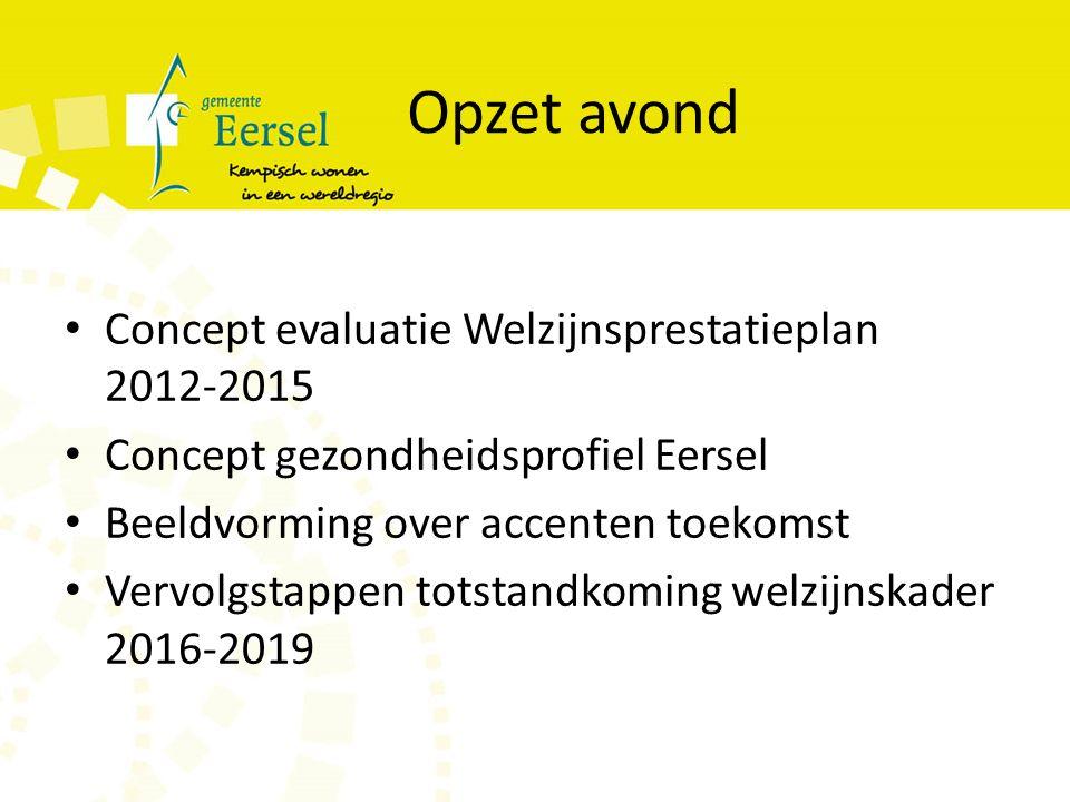 Opzet avond Concept evaluatie Welzijnsprestatieplan 2012-2015 Concept gezondheidsprofiel Eersel Beeldvorming over accenten toekomst Vervolgstappen totstandkoming welzijnskader 2016-2019
