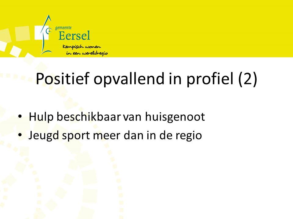 Positief opvallend in profiel (2) Hulp beschikbaar van huisgenoot Jeugd sport meer dan in de regio