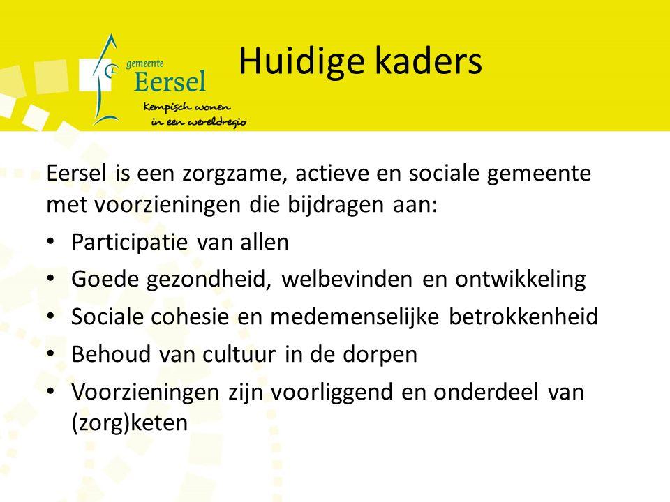 Huidige kaders Eersel is een zorgzame, actieve en sociale gemeente met voorzieningen die bijdragen aan: Participatie van allen Goede gezondheid, welbevinden en ontwikkeling Sociale cohesie en medemenselijke betrokkenheid Behoud van cultuur in de dorpen Voorzieningen zijn voorliggend en onderdeel van (zorg)keten Herkenning, aanpassing en aanvulling
