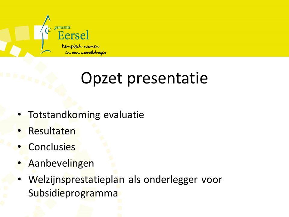 Opzet presentatie Totstandkoming evaluatie Resultaten Conclusies Aanbevelingen Welzijnsprestatieplan als onderlegger voor Subsidieprogramma
