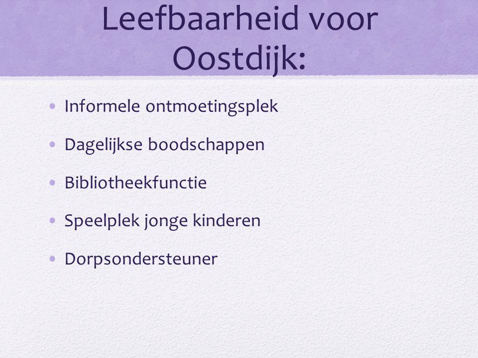 Leefbaarheid voor Oostdijk: Informele ontmoetingsplek Dagelijkse boodschappen Bibliotheekfunctie Speelplek jonge kinderen Dorpsondersteuner