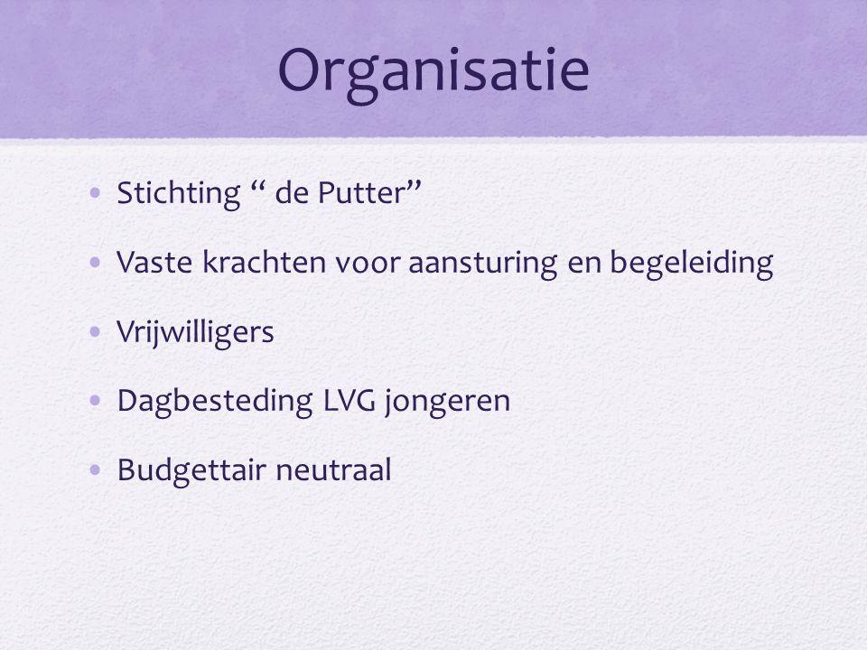 Organisatie Stichting de Putter Vaste krachten voor aansturing en begeleiding Vrijwilligers Dagbesteding LVG jongeren Budgettair neutraal