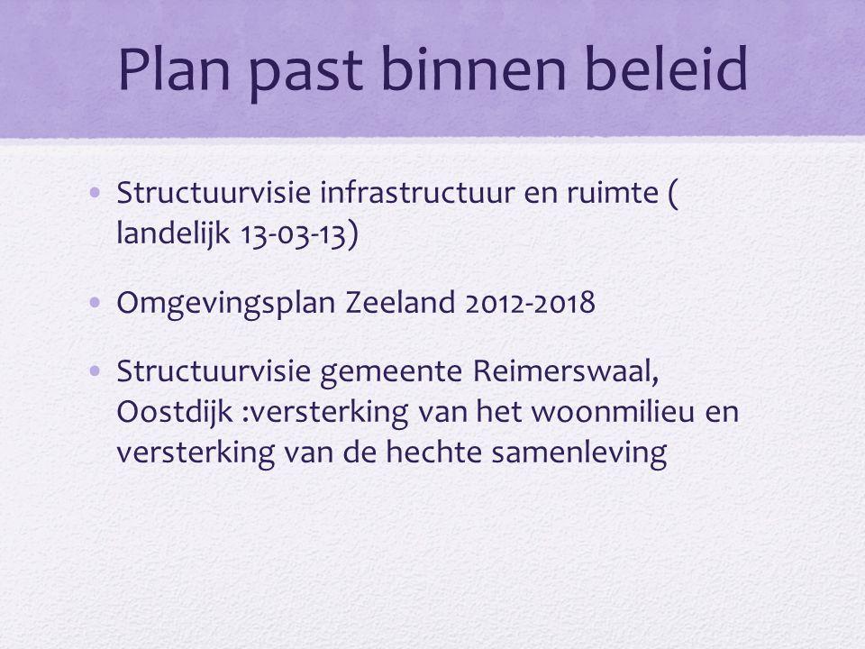 Plan past binnen beleid Structuurvisie infrastructuur en ruimte ( landelijk 13-03-13) Omgevingsplan Zeeland 2012-2018 Structuurvisie gemeente Reimersw