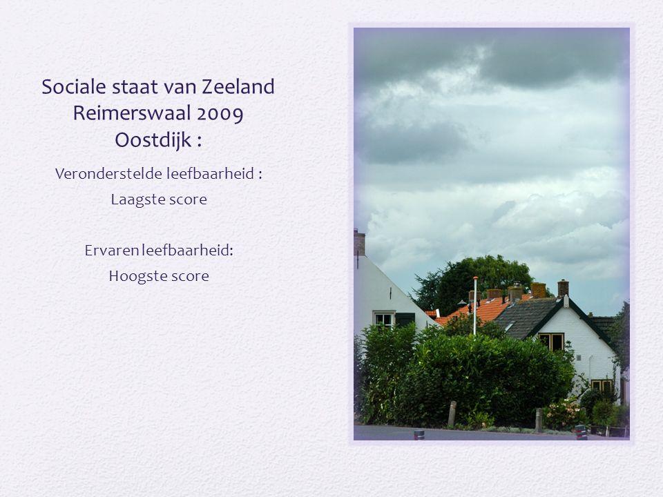 Sociale staat van Zeeland Reimerswaal 2009 Oostdijk : Veronderstelde leefbaarheid : Laagste score Ervaren leefbaarheid: Hoogste score
