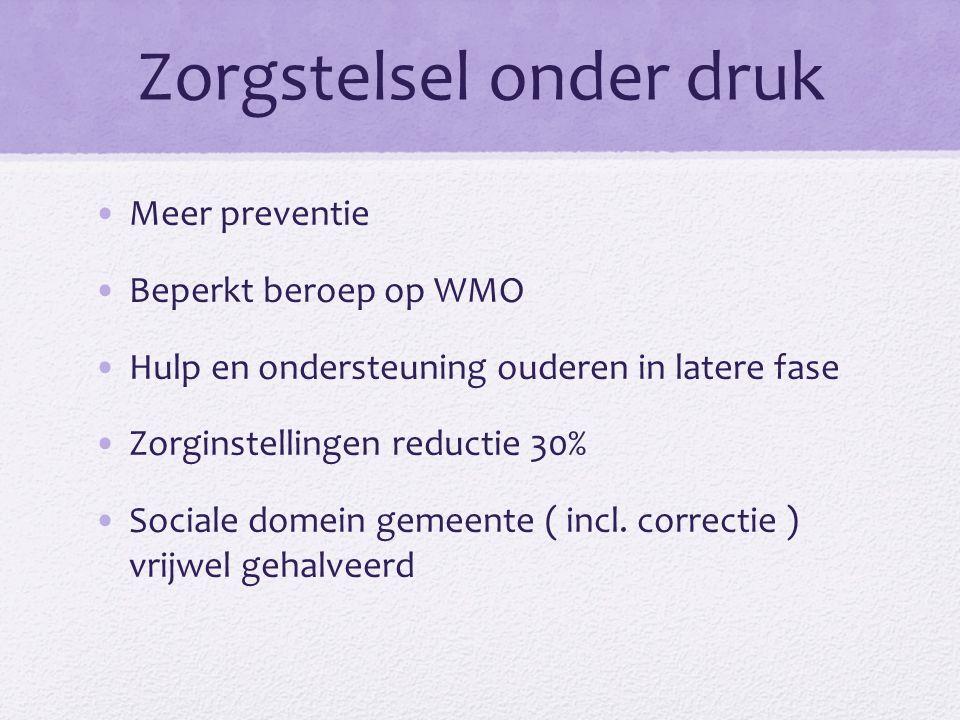 Zorgstelsel onder druk Meer preventie Beperkt beroep op WMO Hulp en ondersteuning ouderen in latere fase Zorginstellingen reductie 30% Sociale domein gemeente ( incl.