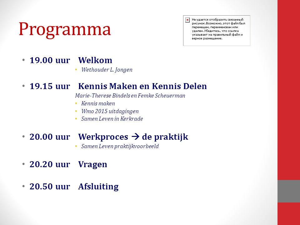 Programma 19.00 uurWelkom Wethouder L.