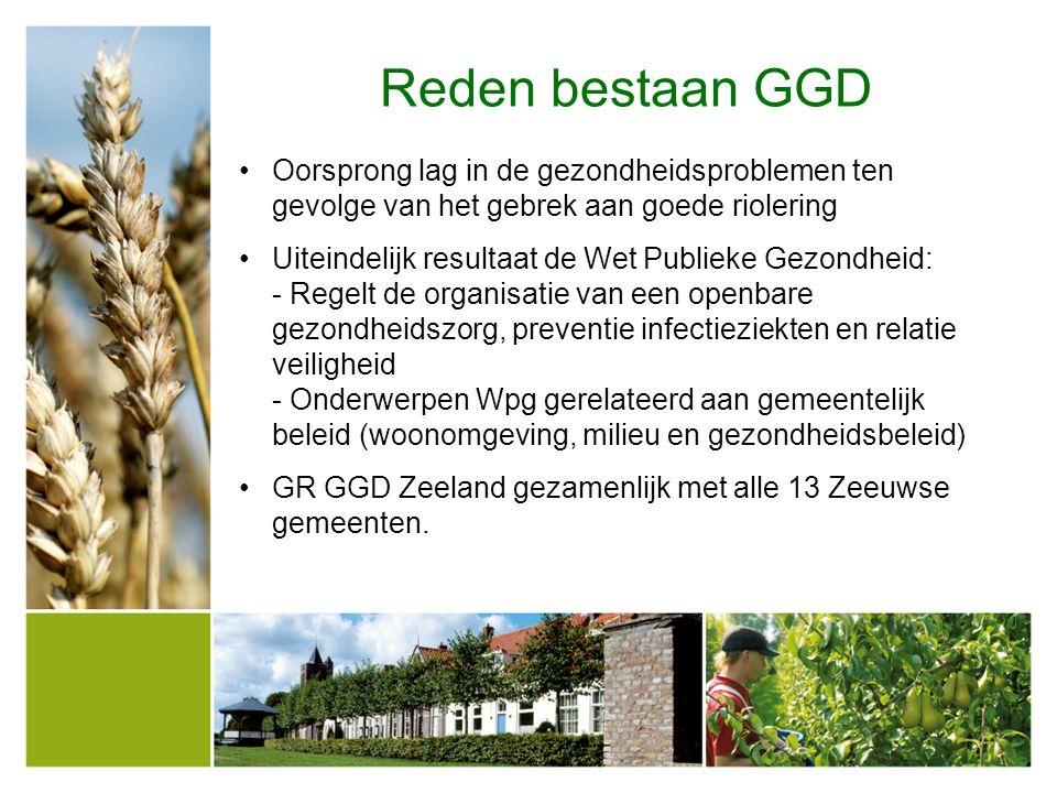Reden bestaan GGD Oorsprong lag in de gezondheidsproblemen ten gevolge van het gebrek aan goede riolering Uiteindelijk resultaat de Wet Publieke Gezon