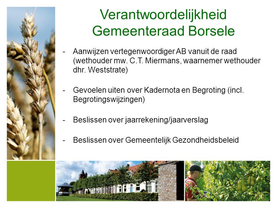 Verantwoordelijkheid Gemeenteraad Borsele -Aanwijzen vertegenwoordiger AB vanuit de raad (wethouder mw. C.T. Miermans, waarnemer wethouder dhr. Westst