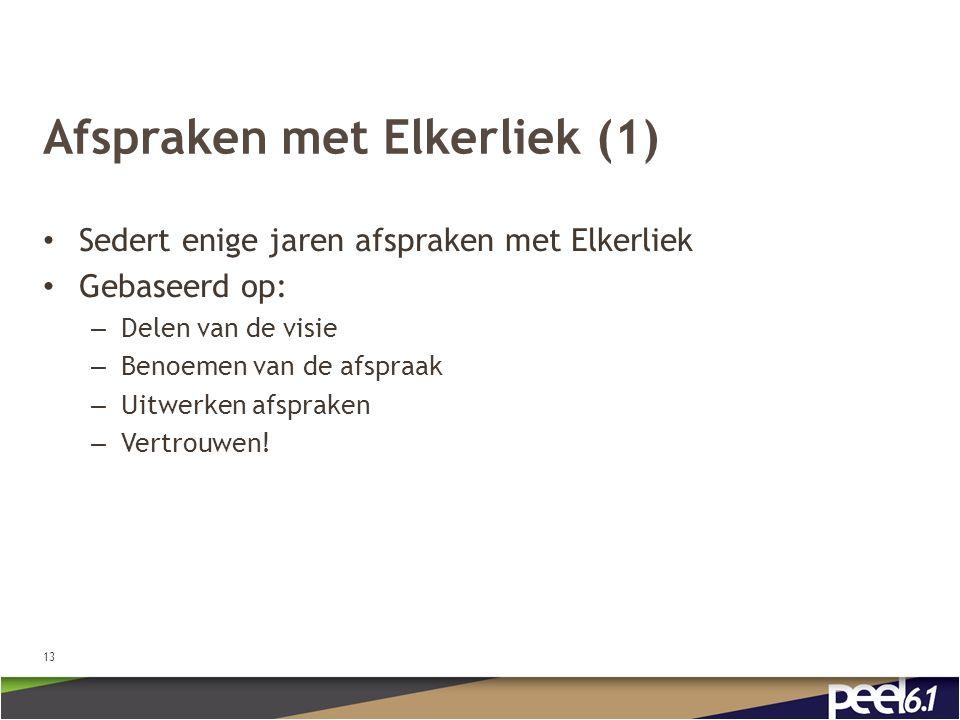 Afspraken met Elkerliek (1) Sedert enige jaren afspraken met Elkerliek Gebaseerd op: – Delen van de visie – Benoemen van de afspraak – Uitwerken afspraken – Vertrouwen.
