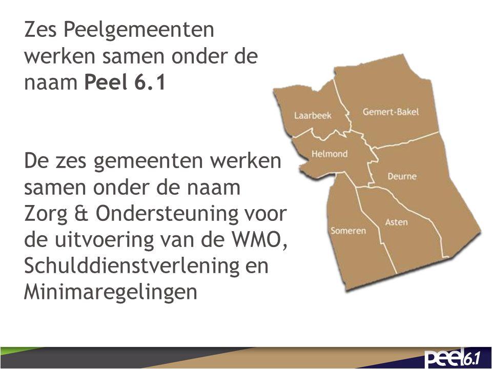 Zes Peelgemeenten werken samen onder de naam Peel 6.1 De zes gemeenten werken samen onder de naam Zorg & Ondersteuning voor de uitvoering van de WMO, Schulddienstverlening en Minimaregelingen