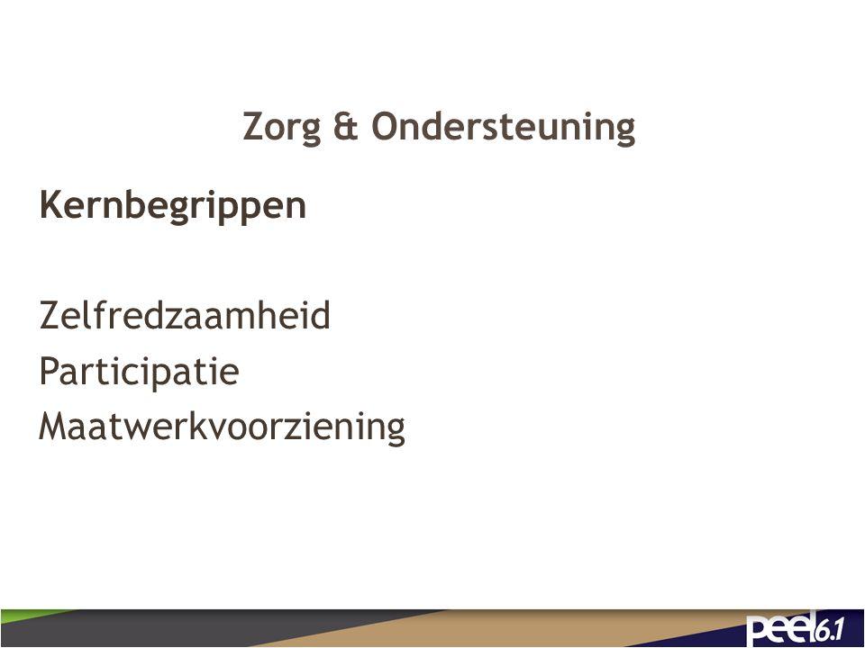 Zorg & Ondersteuning Kernbegrippen Zelfredzaamheid Participatie Maatwerkvoorziening