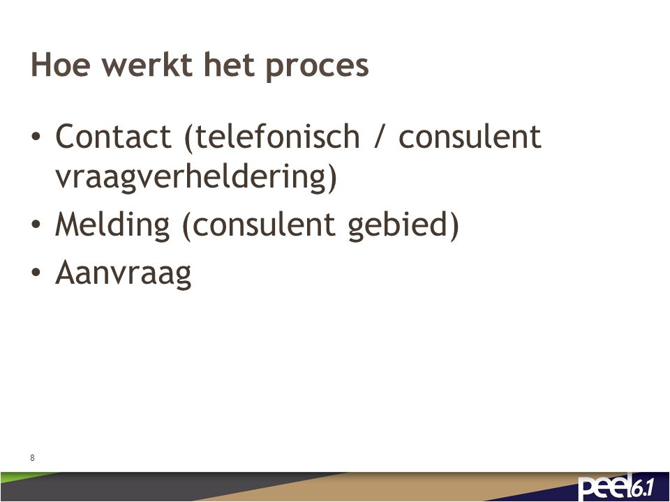 Hoe werkt het proces Contact (telefonisch / consulent vraagverheldering) Melding (consulent gebied) Aanvraag 8