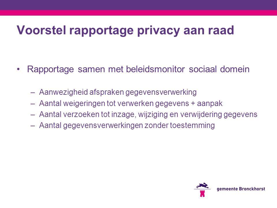 Voorstel rapportage privacy aan raad Rapportage samen met beleidsmonitor sociaal domein –Aanwezigheid afspraken gegevensverwerking –Aantal weigeringen tot verwerken gegevens + aanpak –Aantal verzoeken tot inzage, wijziging en verwijdering gegevens –Aantal gegevensverwerkingen zonder toestemming
