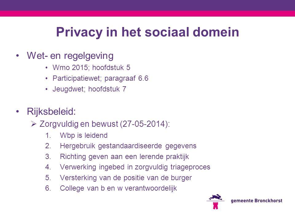 Privacy in het sociaal domein Wet- en regelgeving Wmo 2015; hoofdstuk 5 Participatiewet; paragraaf 6.6 Jeugdwet; hoofdstuk 7 Rijksbeleid:  Zorgvuldig en bewust (27-05-2014): 1.Wbp is leidend 2.Hergebruik gestandaardiseerde gegevens 3.Richting geven aan een lerende praktijk 4.Verwerking ingebed in zorgvuldig triageproces 5.Versterking van de positie van de burger 6.College van b en w verantwoordelijk