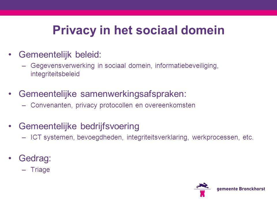 Privacy in het sociaal domein Gemeentelijk beleid: –Gegevensverwerking in sociaal domein, informatiebeveiliging, integriteitsbeleid Gemeentelijke same