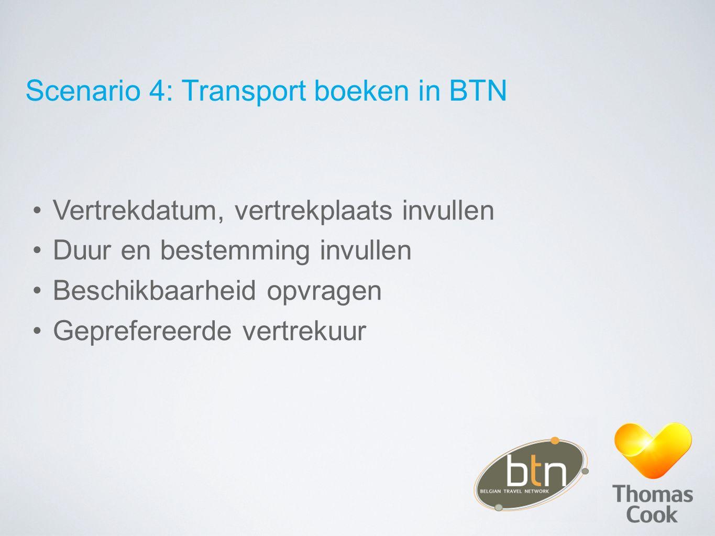 Scenario 4: Transport boeken in BTN Vertrekdatum, vertrekplaats invullen Duur en bestemming invullen Beschikbaarheid opvragen Geprefereerde vertrekuur