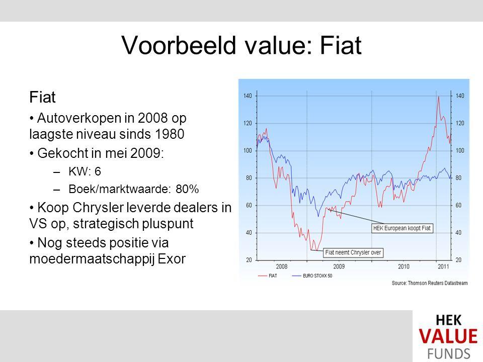 Voorbeeld value: Fiat Fiat Autoverkopen in 2008 op laagste niveau sinds 1980 Gekocht in mei 2009: –KW: 6 –Boek/marktwaarde: 80% Koop Chrysler leverde dealers in VS op, strategisch pluspunt Nog steeds positie via moedermaatschappij Exor