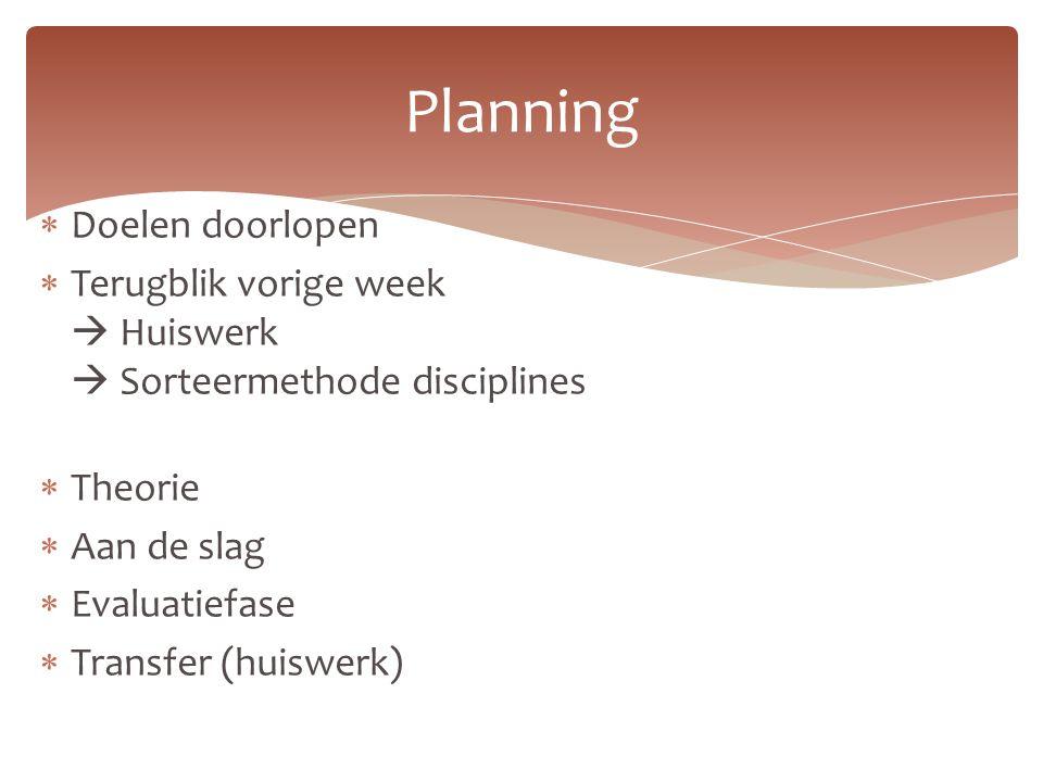  Doelen doorlopen  Terugblik vorige week  Huiswerk  Sorteermethode disciplines  Theorie  Aan de slag  Evaluatiefase  Transfer (huiswerk) Planning