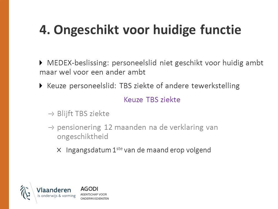 4. Ongeschikt voor huidige functie MEDEX-beslissing: personeelslid niet geschikt voor huidig ambt maar wel voor een ander ambt Keuze personeelslid: TB