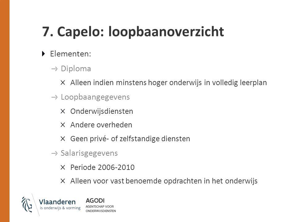 7. Capelo: loopbaanoverzicht Elementen: Diploma Alleen indien minstens hoger onderwijs in volledig leerplan Loopbaangegevens Onderwijsdiensten Andere