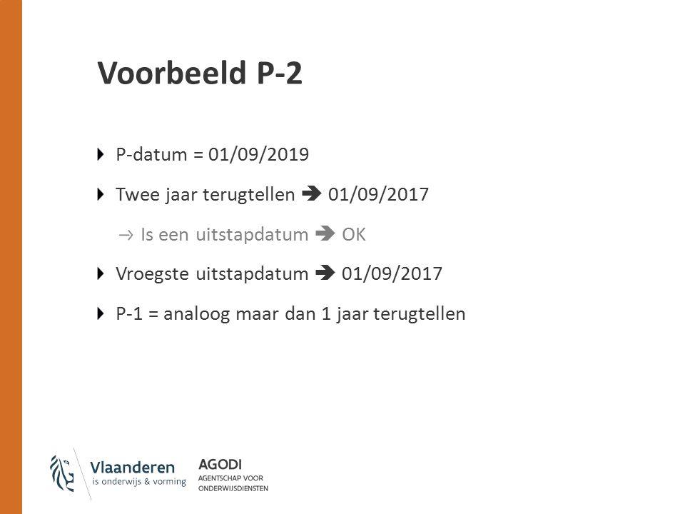 Voorbeeld P-2 P-datum = 01/09/2019 Twee jaar terugtellen  01/09/2017 Is een uitstapdatum  OK Vroegste uitstapdatum  01/09/2017 P-1 = analoog maar dan 1 jaar terugtellen