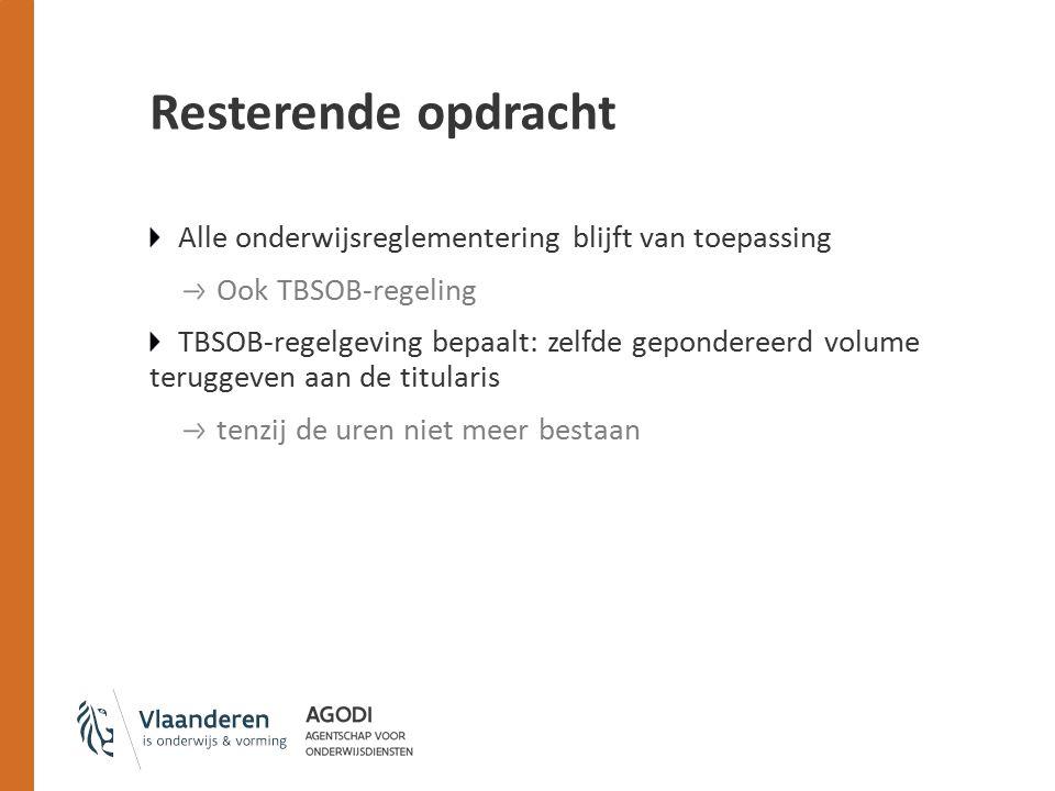 Resterende opdracht Alle onderwijsreglementering blijft van toepassing Ook TBSOB-regeling TBSOB-regelgeving bepaalt: zelfde gepondereerd volume terugg