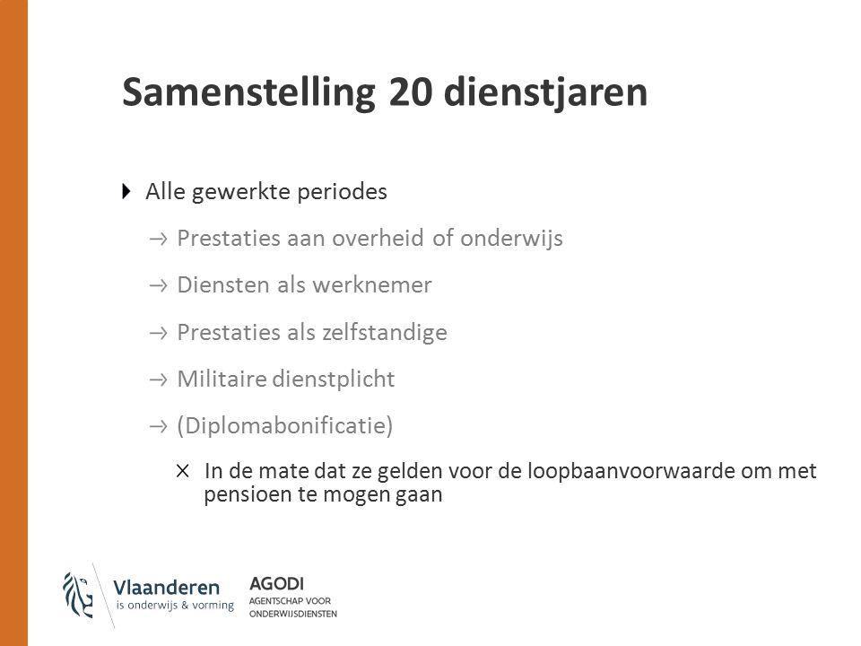Samenstelling 20 dienstjaren Alle gewerkte periodes Prestaties aan overheid of onderwijs Diensten als werknemer Prestaties als zelfstandige Militaire