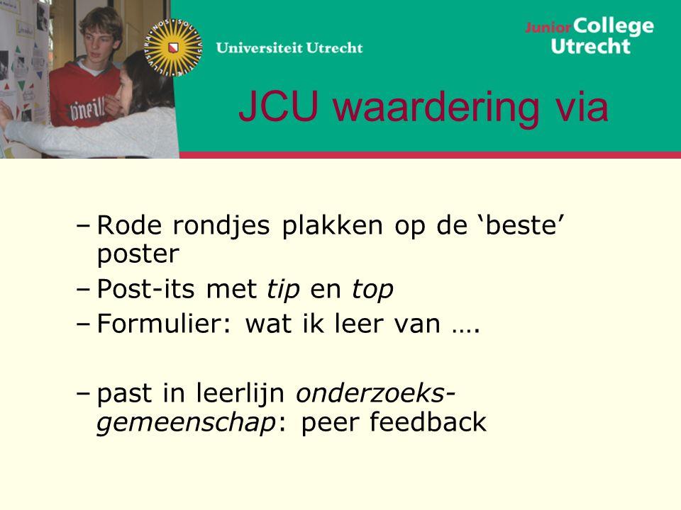 JCU waardering via –Rode rondjes plakken op de 'beste' poster –Post-its met tip en top –Formulier: wat ik leer van ….