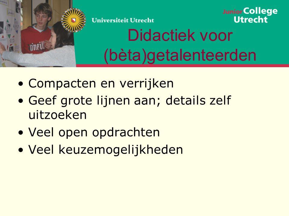 Uitwerking van een vb: differentiatie Zie www.betadifferentiatie.nlwww.betadifferentiatie.nl voor vwo bb Opdracht 1 Bekijk met elkaar enkele vakopdrachten Wat zijn specifieke kenmerken.