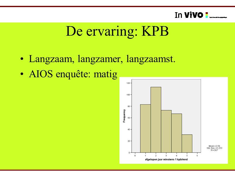 De ervaring: KPB Langzaam, langzamer, langzaamst. AIOS enquête: matig