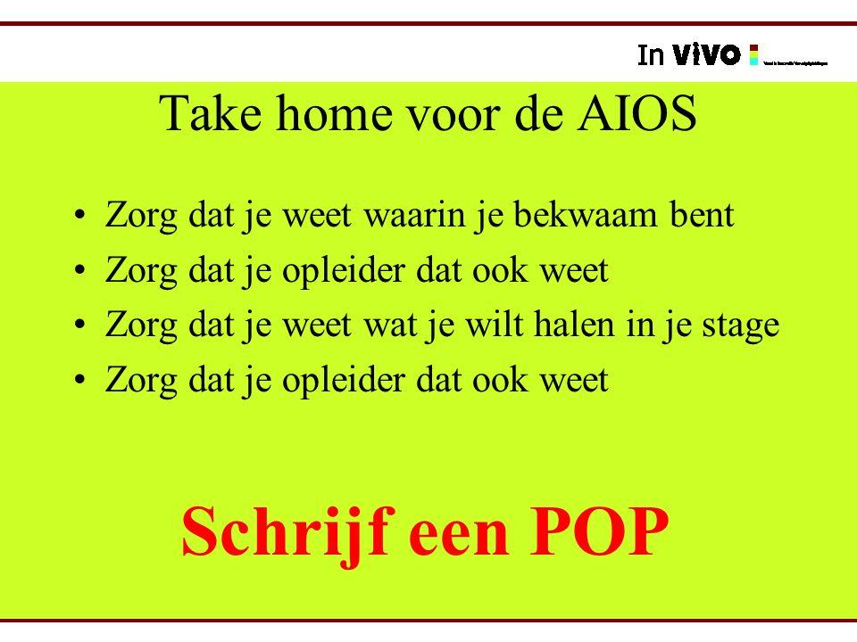 Take home voor de AIOS Zorg dat je weet waarin je bekwaam bent Zorg dat je opleider dat ook weet Zorg dat je weet wat je wilt halen in je stage Zorg d
