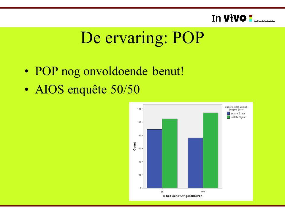 De ervaring: POP POP nog onvoldoende benut! AIOS enquête 50/50