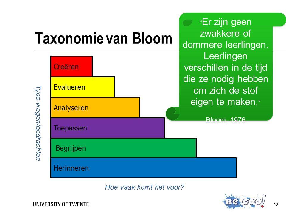 10 Taxonomie van Bloom Creëren Begrijpen Toepassen Analyseren Evalueren Herinneren Type vragen/opdrachten Hoe vaak komt het voor.