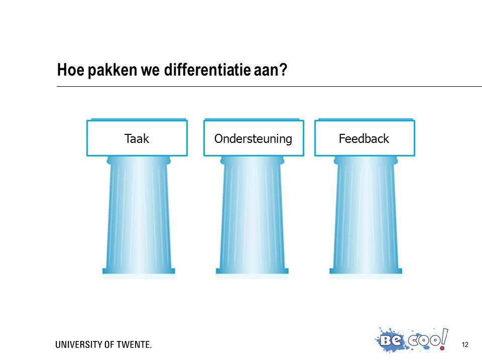 12 Hoe pakken we differentiatie aan?  TaakWat wil ik dat ze leren? Hoe moeten ze dit leren?  OndersteuningWat wil ik dat ze leren? In hoeverre kunne