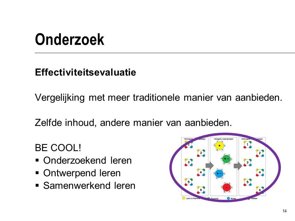 14 Onderzoek Effectiviteitsevaluatie Vergelijking met meer traditionele manier van aanbieden. Zelfde inhoud, andere manier van aanbieden. BE COOL!  O