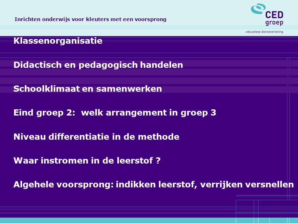 Klassenorganisatie Didactisch en pedagogisch handelen Schoolklimaat en samenwerken Eind groep 2: welk arrangement in groep 3 Niveau differentiatie in de methode Waar instromen in de leerstof .
